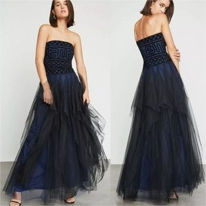 BcbgMaxAzria Strapless Embroidered Lace Tulle Gown